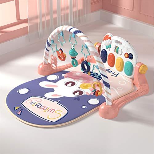Gong Alfombrilla de Juego con Arcos de Juego y música, Manta de bebé con Juguetes, música y Arcos de Juego Blandos,Rosado