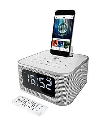 MAJORITY Neptune Speaker 20W Docking Station Bluetooth Alarm Clock FM Radio Lightning Dock for iPhone 5 5S 5C 6 6+ 6S 7 7+ 8 8+ X XR XS, iPad Air Mini iPod (Black) from Majority