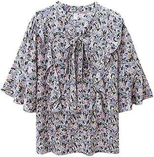 Wanxiaoyyyindx T Shirts for Women, Women's Summer Blouse Floral Bowknot Chiffon Shirt Loose Plus Size Short-sleeved Blouse...