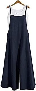 Aedvoouer Women's Baggy Plus Size Overalls Cotton Linen Jumpsuits Wide Leg Harem Pants Casual Rompers