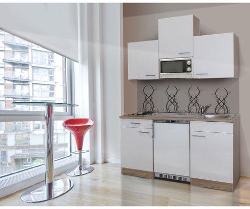 respekta KB150ESWMIC Mini cuisine équipée avec bloc de cuisine de 150 cm en imitation chêne brut de sciage avec four à micro-ondes Ceran Blanc