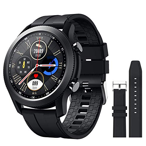 SANAG Smart Watch Compatible iPhone and Android Phones Fitness Tracker with Heart Rate Monitor, Sport Mode, IP68 Waterproof Pedometer Smartwatch with Sleep Monitor, Black Step Counter for Men (Black)