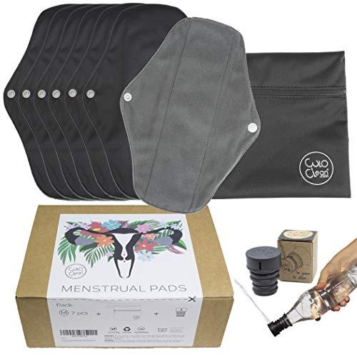 CuloClean 7pcs (M) Compresas Menstruales Reutilizables de fibra de bambú. Salvaslips ecológicos, de tela transpirable e impermeable + bolsa + bidet portátil