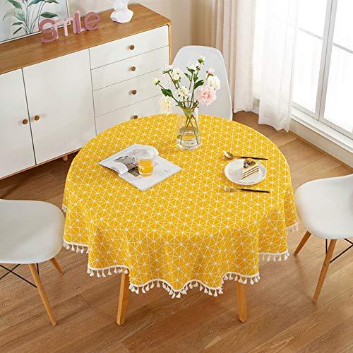 HINMAY Mantel redondo, de tela de lino de estilo nórdico simple con borla, a prueba de arrugas, redondo, cubierta de mesa para cocina, comedor, decoración de mesa, diámetro de 150 cm, amarillo