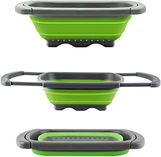 Toppart Folding drain basket Colander collapsible Over The Sink Vegtable/Fruit Colander Strainer With Extendable Handles,S...