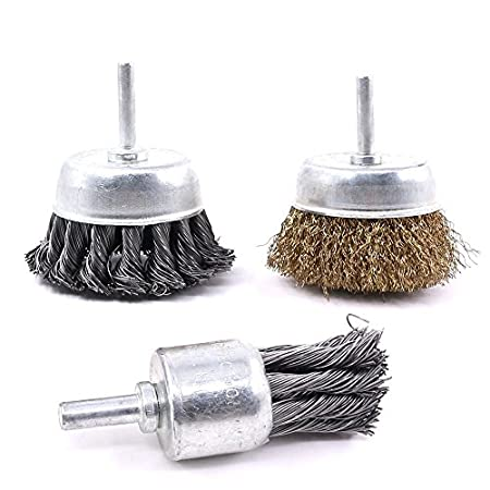 3 PCS 3 Inch Knotted and Plated Crimped and 1-Inch Carbon Knot Wire End Brush, Cup Wire Wheels