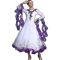 garuda shop レディース社交ダンス衣装 新品 ワルツ競技ドレス モダン発表会ドレス 素敵花柄 ボリュームスカート 3色 品番1894 (白+パープル, 2XL)