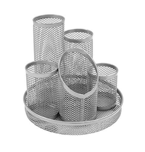 Osco DT5-SLV - Portalápices con 5 tubos de malla metálica, color plateado, plateada