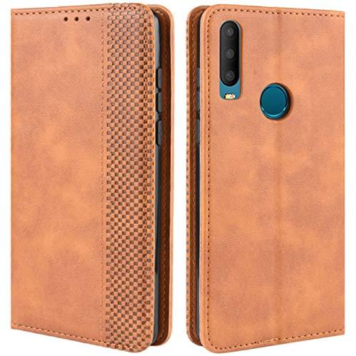HualuBro Handyhülle für Alcatel 3X 2019 Hülle, Retro Leder Brieftasche Tasche Schutzhülle Handytasche LederHülle Flip Hülle Cover für Alcatel 3X 2019 - Braun
