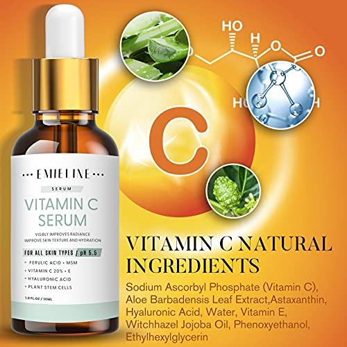 51+PpruLlIL. SL500  - Emieline Anti Aging Serum, Vitamin C Serum, Retinol Serum, Hyaluronic Acid Serum, Face Serum Set Natural Organic with Apply to Brightening, Anti Wrinkle, Dark Spot Corrector for Face, Moisturizing