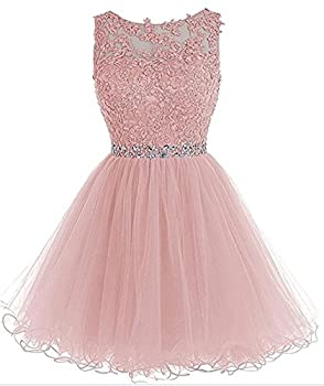 Dydsz Women s Prom Dresses Short Homecoming Dress for Juniors A Line Tulle Party Cocktail Gown D126 Blush 2