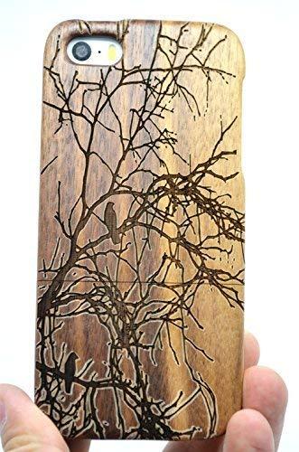 RoseFlower® Holz Schutzhülle für iPhone SE/iPhone 5S / iPhone 5 (10,2 cm (4 Zoll) - Walnuss Baum - Natürliche Handgemachte Holzhülle Hülle Handytasche Handy Case Cover