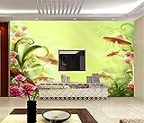 3D No tejido Papel tapiz fotográfico 350(W)X256(H) cm Seta de flor roja de dibujos animados Murales Papel Pintado para Decoración de Paredes de Dormitorio y Salón