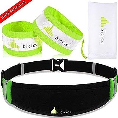 1 Running Belt + 2 Reflective Bands + 1 Fabric Bag / Running Belt – Running Gear - Waist Bag – Fitness Workout Belt– Reflective Bands - #1for Running, Cycling, Hiking – Eco Design.
