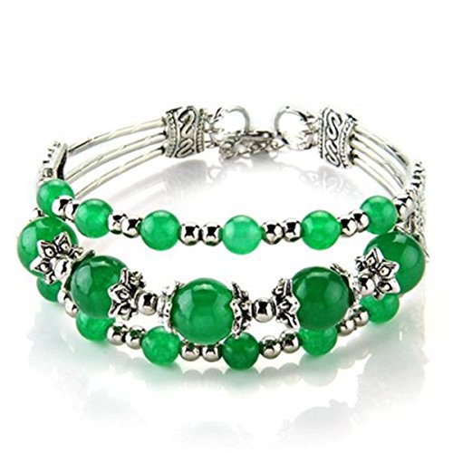 Gaetooely Pulsera Brazalete de Jade Tibet Plata 3 Filas Abalorios Color Verde
