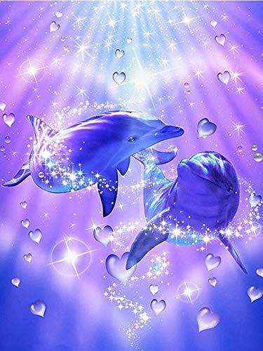 CDNY Animal delfín-5D DIY Pintura Diamante-de Cristal, Bordado de Punto de Cruz, Lienzo-para Adultos Niños Decoración de la pared40x50cm