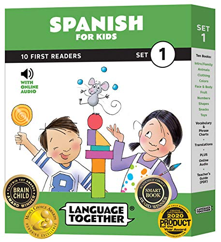 Spanish for Kids: 10 First Reader Books with Online Audio and 100 Words (Beginning to Learn Spanish) Set 1 by Language Together