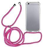 MyGadget Funda Transparente con Cordón para Apple iPhone 6 / 6s - Carcasa Cuerda y Esquinas Reforzadas en Silicona TPU - Case y Correa - Rosa