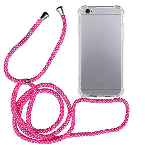 MyGadget Cover Trasparente con Cordino per Apple iPhone 6 / 6s - Custodia Bumper Cordoncino - Case Angoli Rinforzati con Laccio Tracolla - Rosa