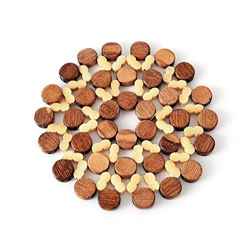 LZFLZ 16/21 cm Schreibtisch Tischsets Runde Bambus Tischset Isolationspads Gegen Heiße Untersetzer Hohl Holz Topf Tasse Matte Küche Zubehör (Size : 16CM)