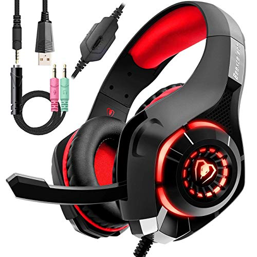 Wired Red Gaming Headset for PS4, Over-Ear PC Headphones As Gifts, Gamer Headset with Noise Cancelling Mic LED Light Crystal 3D Bass Surround Sound, Memory Foam Earpad for Mac, Laptop, Mobile