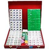 Juego de fichas de Mahjong chino Conjunto de mahjong chino, 144 azulejos Classic Mahjong juego de juego con estuche de madera para regalo / cumpleaños, conjunto completo pesa 11 libras Juego de regalo