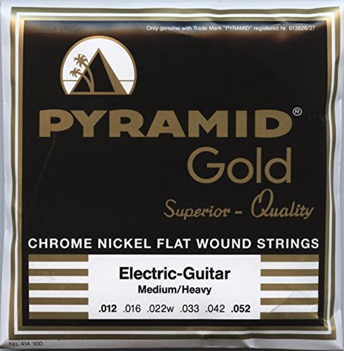 Pyramid Electric Guitar Gold Chrome Nickel Flat Wound Round Core Med/Heavy 12-52