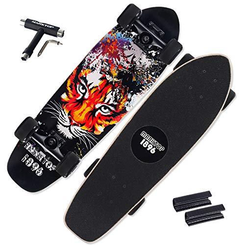 VOMI Wheel Cruiser Skateboard, Professionelles Street Board Waveboard, Portable Leichtgewicht Durable Rails, Deck Concave Skateboards für Jugendliche Erwachsene