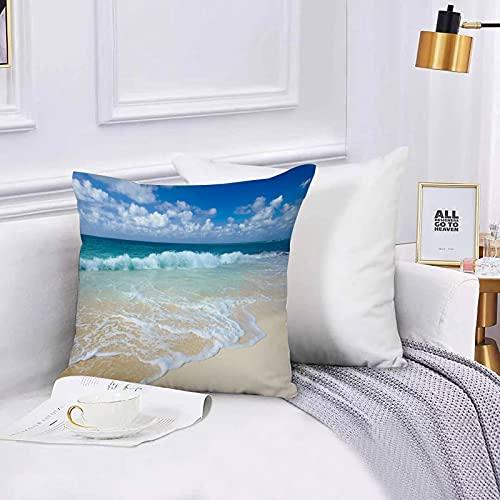 Lilatomer dekorativer Kissenbezug,Stuhl, Bettwäsche, Wellenstrand mit schaumigen Wellen auf leerem Meeresufer-FeiertagsthemKissenbezüge für Couch, (45 x 45 cm) mit unsichtbarem Reißverschluss