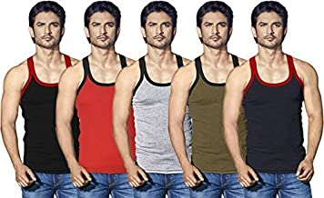 Lux Cozi Xylo Multi Color (Rib Fabric) Gym Vest (Pack of 4)