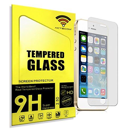 actecom Protector de Pantalla Cristal Templado para iPhone 5 5S