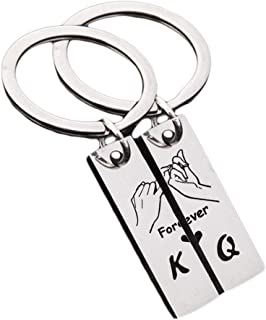 Couples Gift Keychain Cute Mini Matching Promise Key Ring King Queen Forever Love Heart Jewelry for Him Her Girlfriend Boyfriend Husband Wife Present for Birthday, Anniversary, Valentine, Christmas