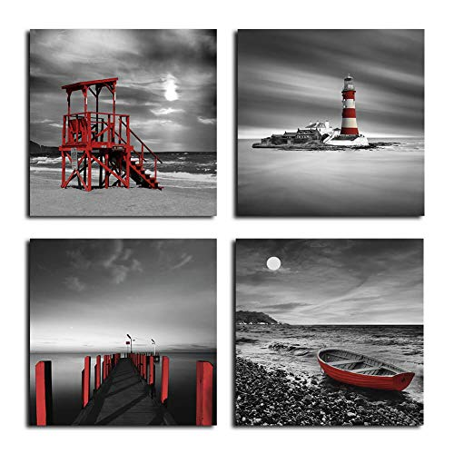Black and White Beach Wall Art Seascape Red Lighthouse Boardwalk Boat Sunrise Scenery Wall Picture Canvas Prints 4 Panels Set for Bathroom Bedroom Hotel Coffee Bar Beach Wall Decor