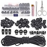 Swpeet 35Pcs 3 Types Plastic Cord Locks for Spring Toggles Stoppers and 11 Yards Elastic Cord for Drawstrings Non-Slip Cord Stopper Adjustable Buckler for Suppliers Shoelaces Clothing