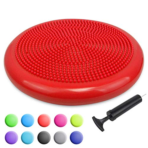 Find Cheap Trideer Inflated Stability Wobble Cushion with Pump, Flexible Seating Classroom, Extra Th...