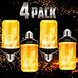 Pretigo LED Flame Effect Light Bulbs, 6W E26/27 Simulated Fire, 4 Mode Types Flickering Light Bulbs for Vintage Indoor Outdoor Decor (4-Pack)