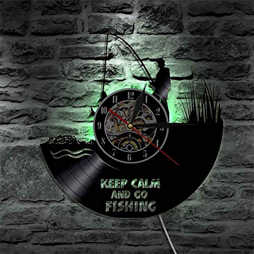 OOFAY Clock@ Wanduhr Vinyl Schallplattenuhr Vintage Familien Zimmer Dekoration- 3D LED Angeln Szene Design-Uhr Wand-Deko Schwarz/Durchmesser 30Cm
