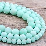 SAIYI 6 8 10 10 12 mm Río Azul Helado Amazonita Beads Matte Piedras Naturales Redonda Perlas Sueltas para joyería Hacer Pulsera Collar DIY (Color : 10mm(Approx 32pcs))