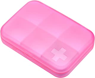 YRLHMYYH Medicine box Cross seal six-frame mini portable small pill medicine cassette storage box multifunction (Color : Pink red)