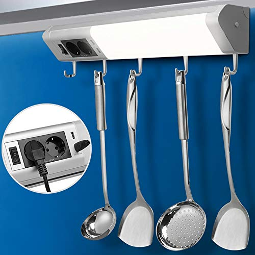 Bakaji Lampada Luce Sottopensile Cucina Multiuso 52cm Barra LED 10W 850lm Bianco Caldo 2700K con Doppia Presa Shucko + 2 USB + 5 Ganci Porta Stoviglie Faretto Slim per Mobili in Alluminio