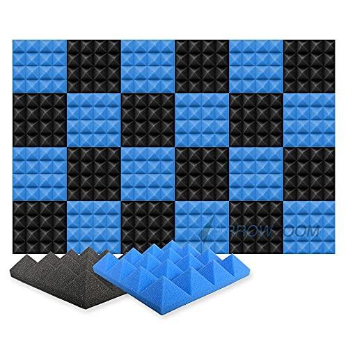 Arrowzoom 24 Akkustik Platten Akkustikschaumstoffmatten Akustikschaumstoff 25x25x5cm Fliesen Dämmung Wanddeko Pyramiden Noppenschaumstoff Breitbandabsorber Decke Foam Feuerhemmend Blau Schwarz