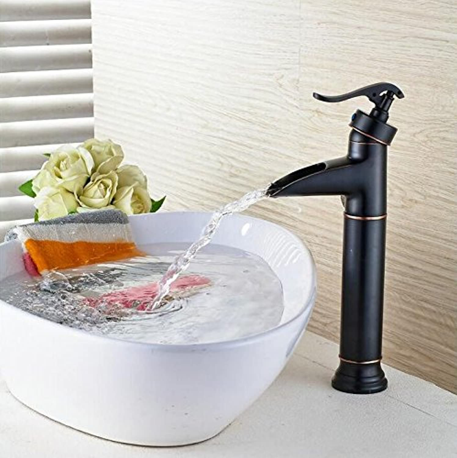 Mkkwp Black Oil Brushed Waterfall Faucet Bathroom Faucet Bathroom Crane Hot And Cold Water Tap