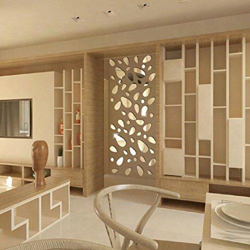 Vovotrade DIY 12pcs Mirror 3D Vinyle amovible Autocollant Mural Decal Home Decor Art (Argent)