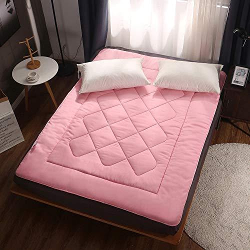 ZAIPP Gemütlich Mattrss Falten Pad,atmungsaktive Gesteppter Baumwolle Pillow-top Matratze Topper Fluffy Weiches Boden Camping Matratze-rosa 120x200cm(47x79inch)