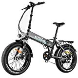 VIVI 500W Folding Electric Bike 20' 4.0 Fat Tire Electric Bicycle, Ebikes for Adults with 48V 10.4AH Removable Battery, Professional 7 Speed