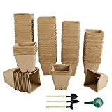 Patioer 124 Pack Seed Starter Peat Pots for Sprouting Seeds, 100% Eco-Friendly Organic Germination Seedling Trays Kits for Vegetable, Flower and Garden Planting, 4 pcs Garden Tool Included
