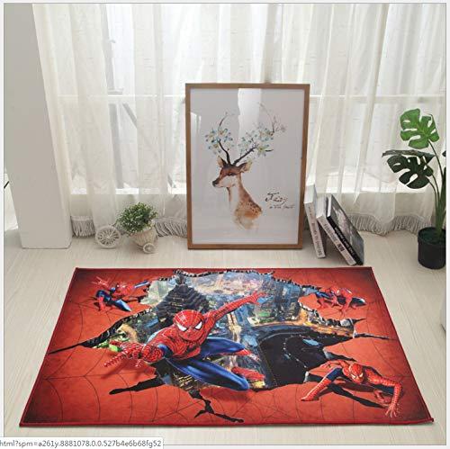 Sala De Estar De Los Niños De Dibujos Animados Spider-Man 3D Patrón Alfombra Sala De Estar Dormitorio Habitación Cama De Noche Frente A La Mesa De Café Colgando Cesta De La Silla Alfombra 80 * 120 CM