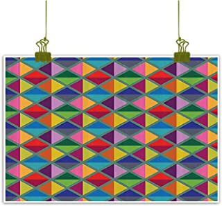 Art deco painting Geometric Decor Collection Argyle Pattern Vibrant Colors Triangles Rhombuses Decoration Artful Design Decorative painted sofa background wall W35