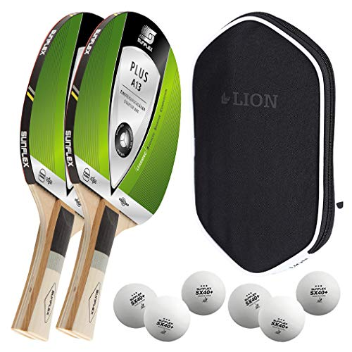 Sunflex 2 x Plus A13 Tischtennisschläger + Tischtennishülle + 2 x 3*** ITTF SX+ Tischtennisbälle | Tischtennisschlägerset | Tischtennis Hobby Set