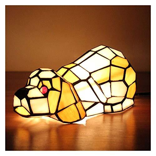 DSDD Lámpara Tiffany Lámpara de Mesa Europea Tiffany Vidrieras Lámpara de Mesa Creativa Shar Pei para Perros Lámpara para niños Luz Nocturna